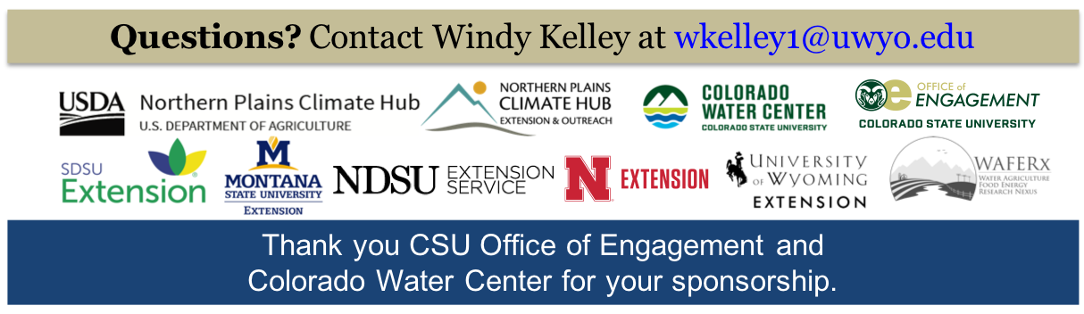 Partner logos, and thank you CSU Office of Engagement & CO Water Center for your sponsorship.