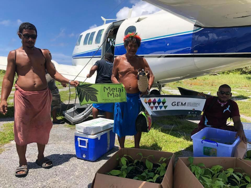 August 2018 delivery of Breadfruit trees to Island Fais, as part of the Melai Mai food security effort in the Pacific. USDA Forest Service photo.