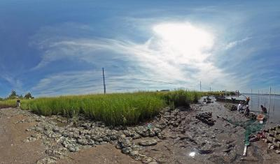 Oyster Castles scene from Living Shorelines virtual tour
