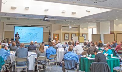 Opening remarks being made at the USDA Northeast Climate Hub Greenhouse Gas Mitigation Workshop