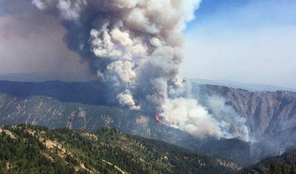 forest fire smoke billowing off mountainside