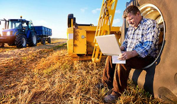 man working on laptop while sitting on tractor wheel