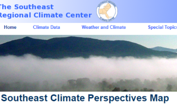 Screen grab from the Southeast Regional Climate Center's Southeast Climate Perspectives website