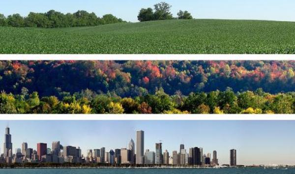 The Midwest includes agricultural lands, forests, and urban areas.