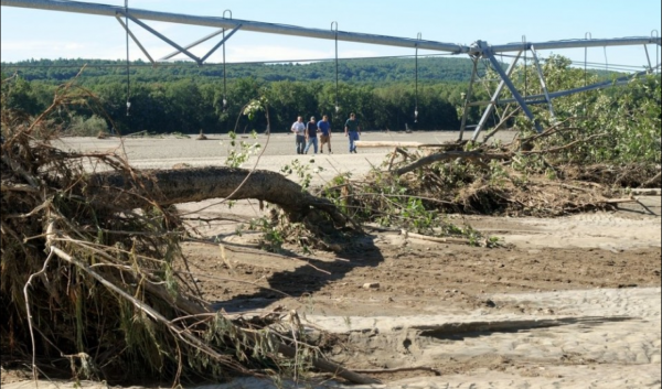 Flood damage on a Massachusetts farm following Hurricane Irene, August 2011. Image by John Appleton.
